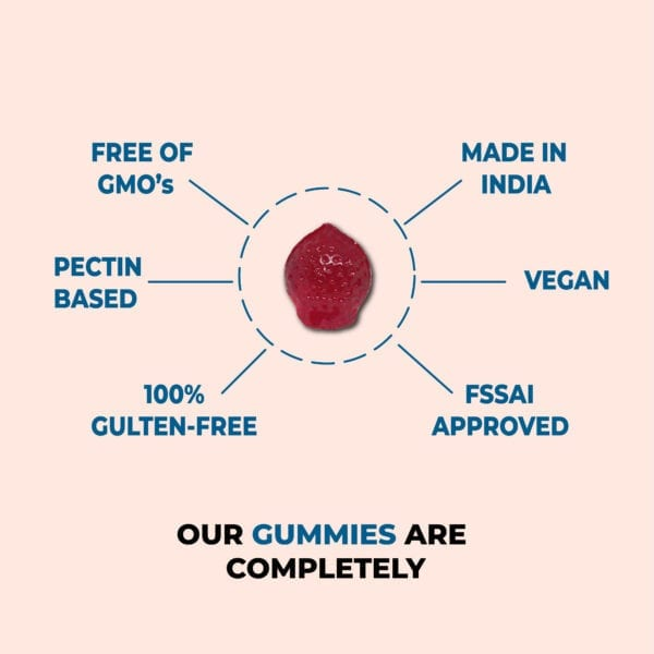 Our hair vitamin gummies are FSSAI approved, gluten, gelatin and GMO free and the best part is it is made in india