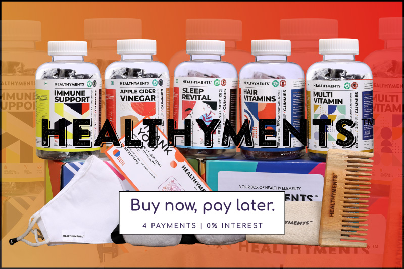 healthyments products picture showing immunity booster and apple cider vinegar and multi vitamin, hair vitamin and sleep aids health supplements in the form of gummies that comes in a beautiful packaging that can be gifted. Use code welcome150 to get flat rupees 150 off